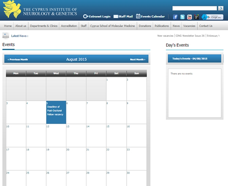 CYPRUS INSTITUDE OF NEUROLOGY GENETICS CALENDAR